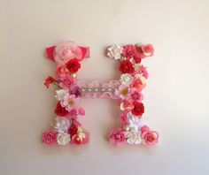 Custom name letter - Pink flower letter - White flower letter - Floral name letter - Wedding decor - Photography prop - Wood letter H by PreciousGiftsbyDiane on Etsy