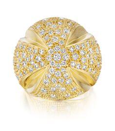 Faraone Mennella: gold cross ring with diamonds