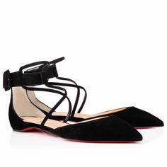 Christian Louboutin Suzanna Flat Suede Ballerinas Shoes Black