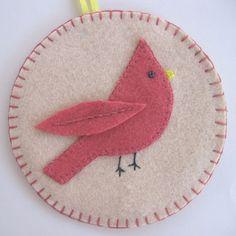 felt ornaments with blanket stitch edging