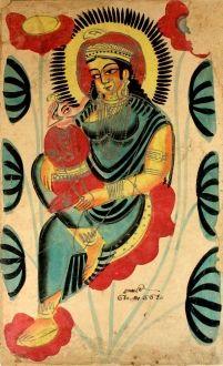 Parvati with her son Ganesha, Kalighat, Calcutta, c.1880, - Indian Paintings - 3 - 9 June 2010 - Auction Atrium