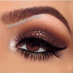 Bronze glitter look