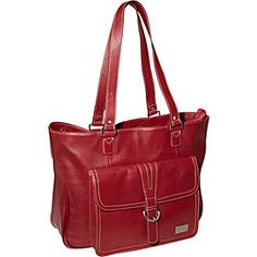 """Clark & Mayfield Stafford Pro Leather Laptop Tote 15.6"""" - Deep Crimson Red - via eBags.com!"""