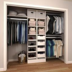 Closet Layout 715931671997593937 - 84 in. H x 60 in. to 120 in. W x 15 in. D White Melamine Reach-In Closet Kit Source by Bedroom Closet Design, Master Bedroom Closet, Wardrobe Design, Closet Designs, Master Bedrooms, Organize Bedroom Closets, Small Closet Design, Entryway Closet, Bedroom Wardrobe