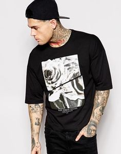 0fe5b4ab ASOS T-shirt With Digital Rose Print And Cropped Boxy Fit Models, Asos Uk