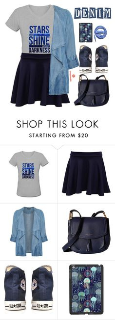 """""""Snapmade #16"""" by oliverab ❤ liked on Polyvore featuring Pilot, Evans, Marc Jacobs, Converse, Urbanears, denim, Jeanjacket, denimjackets, falltrend and snapmade"""