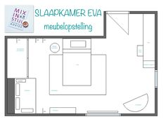Indelingsplan slaapkamer Eva (11 jaar), Berlicum- interieuradvies van Mix in Stijl -  www.mixinstijl.nl