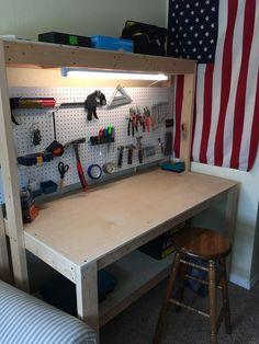 Garage tools, diy workbench, woodworking bench, woodworking shop, shed stor Garage Workbench Plans, Building A Workbench, Workbench Designs, Diy Workbench, Garage Tools, Industrial Workbench, Garage Shop, Small Workbench, Workbench Organization