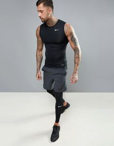 Nike training compression vest in black Athletic Outfits, Sport Outfits, Casual Outfits, Men Casual, Gym Outfits, Fitness Outfits, Workout Outfits, Sport Fashion, Mens Fashion
