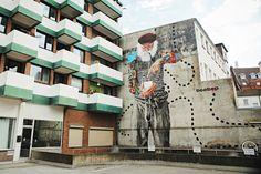 Streetart: FischersNetz Mural by Innerfields in Hamburg // Germany (9 Pictures + Video) > Design und so, Film-/ Fotokunst, Paintings, Streetstyle, urban art > fischersnetz, hamburg, Innerfields, mural, public art