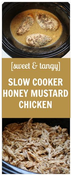 Sweet and tangy slow cooker honey mustard chicken combines simple ...