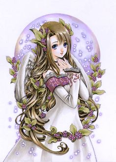 Angel with long blond hair, blue eyes, white dress, feather wings, & purple bubbles by manga artist Shiitake.