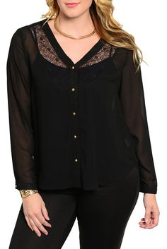 DHStyles Women's Black Plus Size Romantic Lace Overlay V Neckline Button Down Top - 1X #sexytops #clubclothes #sexydresses #fashionablesexydress #sexyshirts #sexyclothes #cocktaildresses #clubwear #cheapsexydresses #clubdresses #cheaptops #partytops #partydress #haltertops #cocktaildresses #partydresses #minidress #nightclubclothes #hotfashion #juniorsclothing #cocktaildress #glamclothing #sexytop #womensclothes #clubbingclothes #juniorsclothes #juniorclothes #trendyclothing #minidresses…