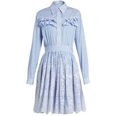 Miu Miu Striped ruffle-trimmed cotton-poplin dress (69.087.905 VND) ❤ liked on Polyvore featuring dresses, blue stripe, blue striped dress, embroidery dresses, frilly dresses, flounce dress and tiered ruffle dress