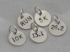 ONE (1) Sterling Silver RUN, 5k, 10k, 13.1, 26.2 or XC Hand Stamped Runner Charm - One Charm Only - Running Charm - Marathon - Half Marathon