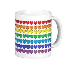 Colorful Hearts Mug #zazzle #mug #colorful #hearts by Lorna Hooper