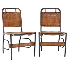 1stdibs.com   French Leather and Wicker Chairs