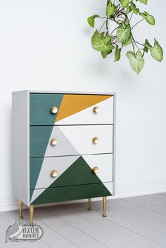 IKEA-komód festése házilag: íme, egy kreatív példa - IKEA RAST hack – milk paint – geometric dresser – modern boho style furniture – makeover – painted chest of drawers – Azure Owl Milk Paint - Refurbished Furniture, Upcycled Furniture, Rustic Furniture, Vintage Furniture, Painted Furniture, Dresser Furniture, Ikea Rast Dresser, Painting Ikea Furniture, Furniture Dolly