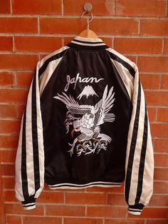 Vintage Japan BLACK Phoenix Eagle Hawks Tiger Roar Yakuza Yokosuka Puffer Sukajan Embroidery Souvenirs Bomber Jacket
