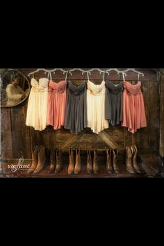 Country wedding at Long Branch Saloon and Farms - bridesmaid dresses Marie they look like our dresses! Cute Wedding Ideas, Wedding Pics, Perfect Wedding, Fall Wedding, Our Wedding, Dream Wedding, Wedding Inspiration, Wedding Stuff, Trendy Wedding