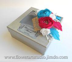 Bridal Headpiece Pink and blue flower comb by Flowerartstudio