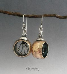 Dangle Hoop Earrings Red Brass Sterling Silver by LjBjewelry