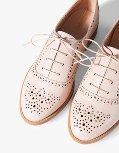 Stradivarius Sapatos blucher Picados, pink, brogues, style, fashion, simple, smart, blush, pink
