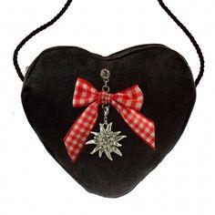 Herztasche schwarz mit Strass-Edelweiß & Schleife (rot)