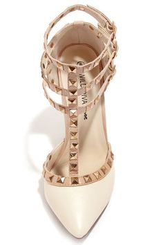 Cute Ivory Shoes - T-Strap Heels - Studded Shoes - White Pumps - $34.00