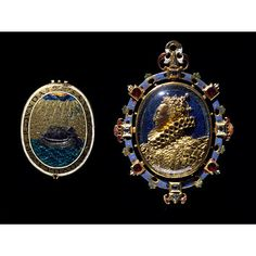 This locket encloses a miniature of Elizabeth I (1558-1603). According to tradition, the jewel was given by the queen to Sir Thomas Heneage. He was a Privy Counsellor and Vice-Chamberlain of the Royal Household. The jewel remained in the possession of the Heneage family until 1902. It has sometimes been called the Armada Jewel. However, it was probably made in about 1595, some years after the defeat of the Spanish Armada in 1588.  The reverse shows a ship holding steady on a stormy sea.V&A