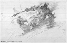 The Breaking of Narsil by John Howe (concept for The LotR movie)