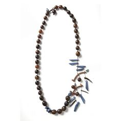 Brown Horn Long Necklace & Blue Coral From by natartg on Etsy