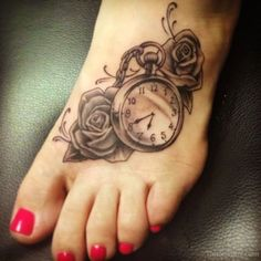 Image result for pocket watch tattoo on the foot