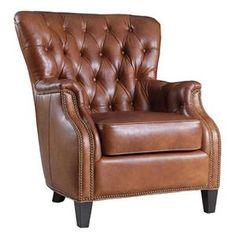 Leather Club Chair in Brown   Nebraska Furniture Mart