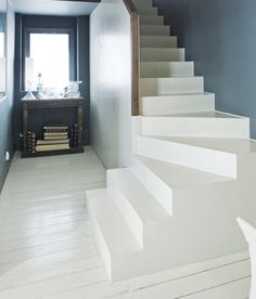 Interior Floors - Choosing Paint Finishes with Farrow & Ball White Floorboards, Painted Floorboards, Painted Stairs, Painted Floors, Painted Wood, Farrow And Ball Paint, Farrow Ball, Deco Cool, White Stairs