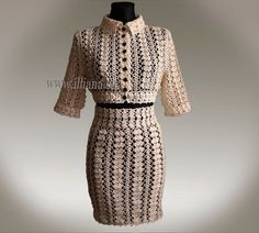 Crochet Pattern . Knee Length Suit No 219 by Illiana on Etsy