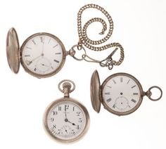 Three 18 Size Pocket Watches For Parts Or Repair Case: silverode & silver, 18 sizes, one key wind is a M.J. Tobias Dial: enamel, Roman, Arabic Movement: nickel, full plate, gilt, bridge for the two key winds, lever