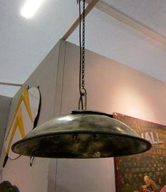 1920's English brass industrial light fixture. www.balsamoantiques.com