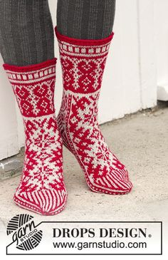 Christmas Raffle Socks by DROPS Design. Free Knitting Pattern