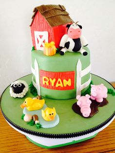 Old MacDonald cake. Done for boy/girl twins (see cow cake)