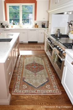 Charming Ivory Bordered Antique Persian Village Runners Transform This Family Kitchen Http