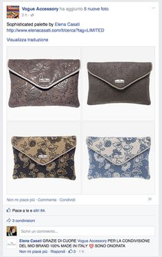 "POST ON ""VOGUE ACCESSORY"" OFFICIAL FACEBOOK PAGE <3 <3 <3 <3 <3   https://www.facebook.com/permalink.php?story_fbid=846624772061023&id=483145365075634   #vogueaccessory #vogue #facebook #elenacasati #bagscollection #madeinitaly #love"