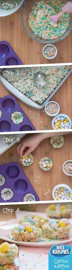 Create a sweet nest out of Rice Krispies® Spring Edition cereal with coloured cereal pieces. These nests are just as tasty as the Easter eggs they hold. Rice Krispies, Rice Krispie Treats, Delicious Desserts, Dessert Recipes, Yummy Food, Holiday Treats, Holiday Recipes, Desserts Ostern, Easter Dinner