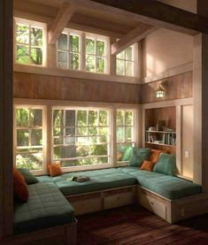 Don't let the space near your window unused. Instead, turn the space into a comfy window seat. Here we listed window seat ideas to help you create one Home Design, Home Interior Design, Interior Ideas, Interior Stairs, Design Design, Aesthetic Rooms, Dream Rooms, Design Case, House Rooms