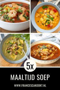 5x Maaltijdsoep voor doordeweeks en in het weekend. Mijn 5 favoriete maaltijdsoepen op een rijtje gezet. Van volledig plantaardig, vegan, vegetarisch tot varianten met gevogelte, schaaldieren en vlees. Soms extra gevuld met pasta en rijst, oftewel de keuze is reuze. #maaltijdsoep #soep #francescakookt Good Food, Yummy Food, Tasty, Expensive Taste, Soups And Stews, Pumpkin Spice, Healthy Snacks, Snack Recipes, Curry