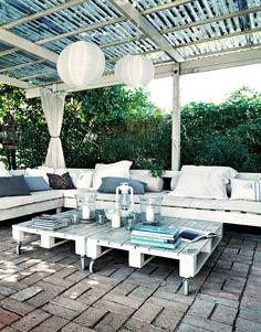 Table basse de jardin en palette exterieur