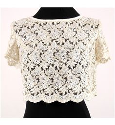 #Vintage 1960's Style White Lace Crop Top from the #oxfam online shop