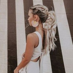 Braided Ponytail Hairstyles, Bohemian Hairstyles, Pretty Hairstyles, Braid Ponytail, Going Out Hairstyles, Half Updo With Braid, Hairstyle Ideas, Hairstyles For Summer, Full Ponytail