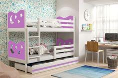 Łóżko dziecięce piętrowe MIKO – 2 osobowe z szufladą – BIAŁE 160x80
