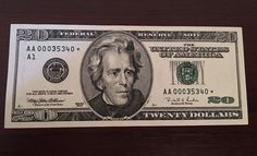 20 Dollar 1996 Replacement Star note TRIPLE000 Low Serial Numbers. (AA00035340*)